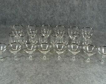 Very Elegant 22 piece Glassware Set with Silver Rim