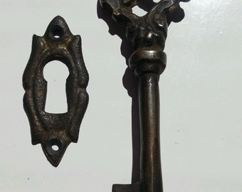 Antique vintage Ornate skeleton key and sm. Ornate escutcheon jewelry component
