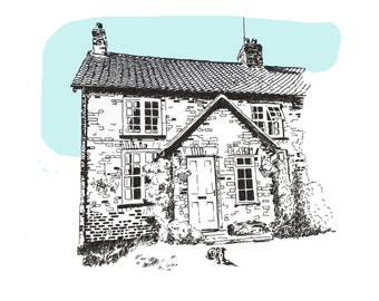 House Portrait  Venue Illustration.  Home Illustration Unframed