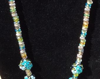 Blue Flower Lampwork Bead Necklace