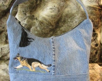 German Shepherd Embroidered Handbag out of Recycled Jeans