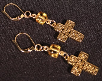 Citrine Glass and Cross Earrings,Easter and Christmas Holiday Earrings