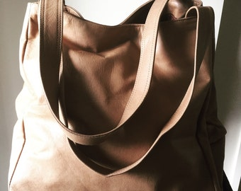 Large leather tote bag, this leather purse is an excellent baby bag or travel bag, genuine leather handbag with strong handles. Tote Bag.