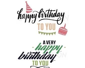 Happy Birthday Postcard Greeting Cards 2 Variations