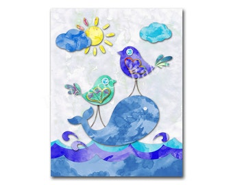 Watercolor nautical nursery ocean wall decor kids room wall art baby boy room artwork playroom decoration sea life poster blue wale birds