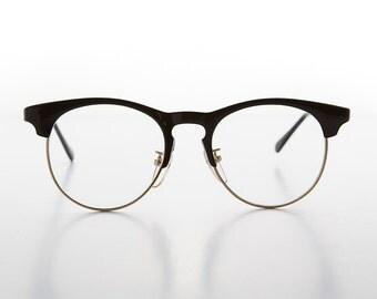 Horn Rim Hipster style Malcom X Eyeglasses with Keyhole Bridge - Quinn
