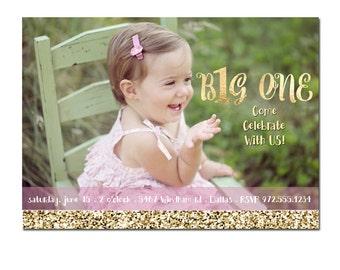 First Birthday Invitation, Childrens Birthday Party Invitation, Girl Birthday Invitation, Custom Photo, Printable Digital