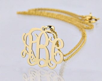 Extra Small 10kt or 14kt Solid Gold Mini 3 Initials Monogram Tiny Pendant 5/8 Inch Personalized Jewelry GM29
