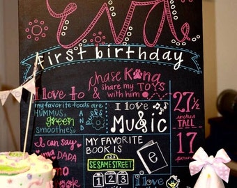 """Personalized Hand-Printed Chalkboard 18""""x24"""""""