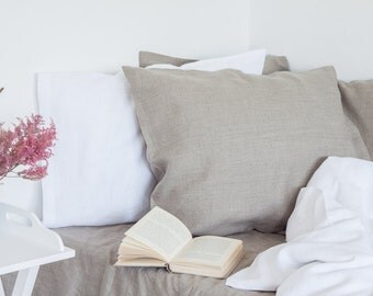 Linen bedding set natural and white color, rustic and elegant bedding set