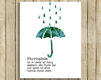 wall art printable quote definition Pluviophile love rain printable umbrella instant download 8 x 10 print home decor watercolor dark green