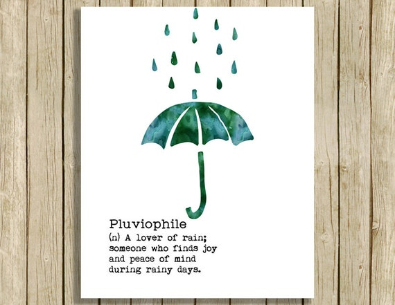 Wall Art Printable Quote Definition Pluviophile Love Rain