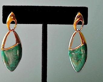 Vintage Green Enamel Gold Tone Tear Drop Pierced Earrings / Green Enamel Door Knocker Pierced Earrings / Green Enamel Earrings