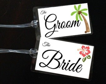 Tropical Bride & Groom Bag Tags - Honeymoon Bag Tags - Newlywed Luggage Tags