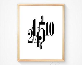 Printable art, numbers print, printable numbers, nursery print, nursery art print, printable wall art number print digital print, home print