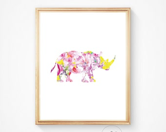 Rhino print rhino art, rhinoceros print rhino art print rhino printable watercolour print colourful print Safari print printable art