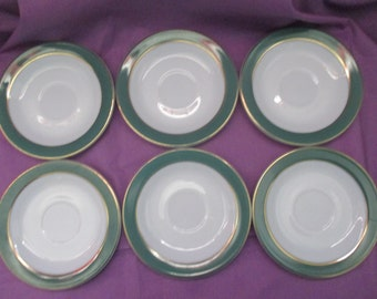 Vintage Pyrex Dinnerware, Set of 6 Saucers in Regency Green with 22 Kt. Gold Banding. 1954 to 1957