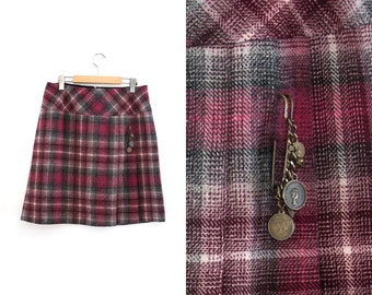 Vintage checkered skirt. Midi skirt. Pink - White - Grey.  High waist skirt. Size 12.
