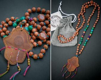 HAMSA MALA long necklace / Goldstone Mala / leather Hamsa Amulet Mala / Hamsa Amulet / 108 bead mala