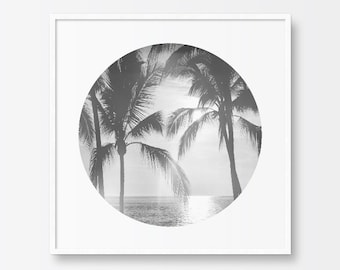 Black and White Photography Print, Palm Trees, Ocean, Sunset, Circle Print, Printable Art, Summer, Sparkling Ocean, Printable Wall Art