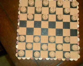 Handcrafted Champagne/Wine Used Corks Checkers Set