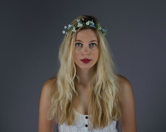 white and pale blue flower crown // white and blue floral headband // Pixie // beach wedding, festival, races, beach inspired