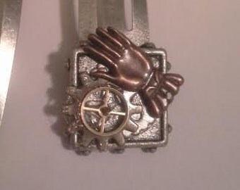 Steampunk watch gear clip barettes matched pair of 2