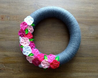 Pink and Grey Felt Flower Wreath, Felt Flower Wreath