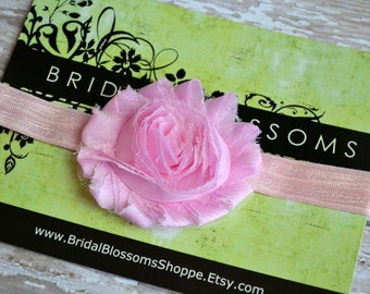 Light Pink Baby Headband | Shabby Chiffon Frayed Flower Headband | Shabby Chic Newborn Headband | Photo Prop | Little Girl Hair Bow