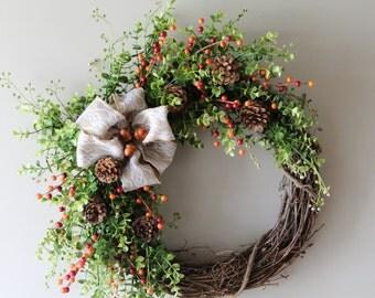 Fall Wreath, Thanksgiving Wreath, Autumn Wreath, Everyday Wreath, Front Door Wreath, Thanksgiving Decor, Harvest Wreath