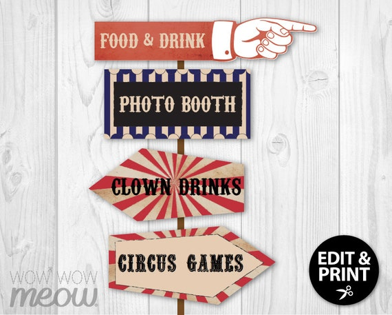 14 vintage circus signs printable instant download party