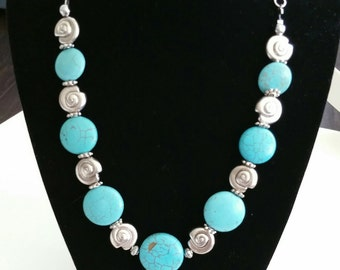 Turquoise semi precious gemstone necklace~seashell spacers~Turquiose and shells necklace~Handmade Necklaces~Handmade Jewelry~Summer Jewelry