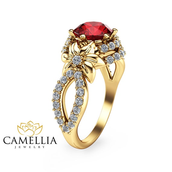 unique 14k yellow gold ruby engagement ring flower engagement
