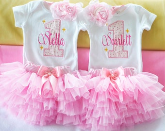 First Birthday Outfit girl,Pink Birthday girl,twinkle twinkle little star outfit,First birthday twin girls,Twin birthday outfits,cake smash