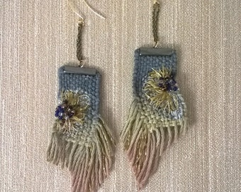 Hand woven and dye embroidery earrings