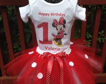 Red minnie mouse birthday tutu set
