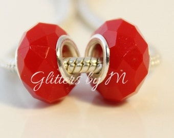2 PC Set Tomato Red Glass Like Acrylic Faceted Large Hole Bead for European Style Charm Bracelets