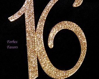 Large Real Rhinestone GOLD Sweet Sixteen Number Cake Topper