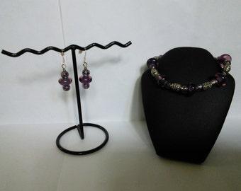 Purple Bracelet & Earrings Set