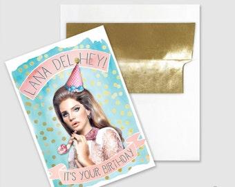 Birthday Card - Lana Del Hey Art - Lana Del Hey - Funny Birthday Card - Retro Party Card