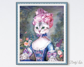 Marie Antoinette - Cat Painting - Art Print - Illustration - Cat Art - Cat Lovers - Anthropomorphic - Painting - Rococo - French Art