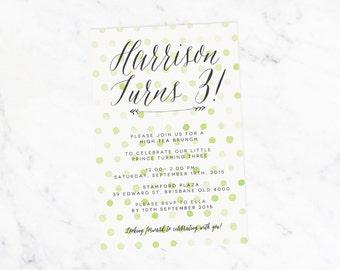 Custom Birthday Invitation - Printable Watercolour Polka Dot Spots