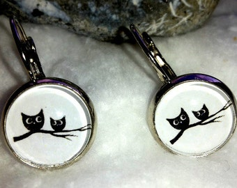 Cabochon earrings OWL Mama and child on tree branch