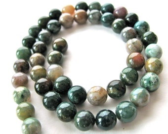 Indian Agate, multicolor, 24 beads, 8mm - #65