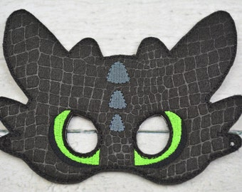 Black Dragon Childrens Felt Mask  - Costume - Theater - Dress Up - Halloween - Face Mask - Pretend Play - Party Favor