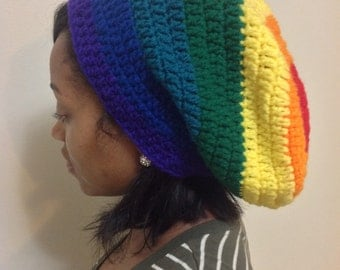 Women's rainbow colored slouch hat