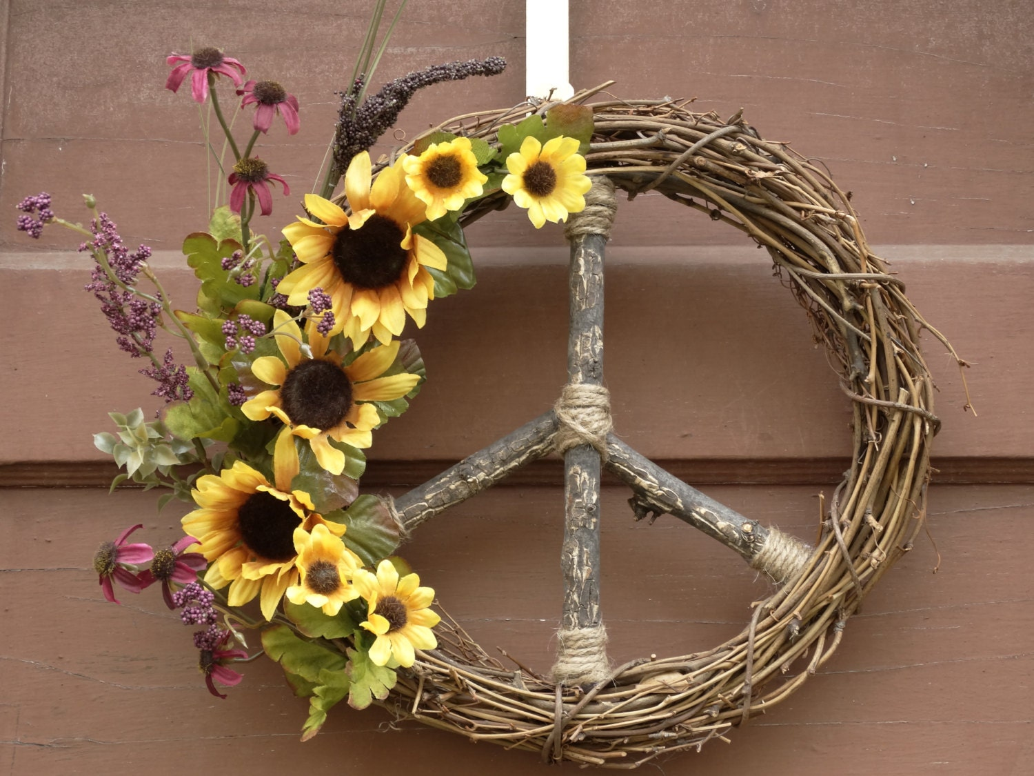 Yellow Amp Purple Sunflower Peace Sign Wreath Natural