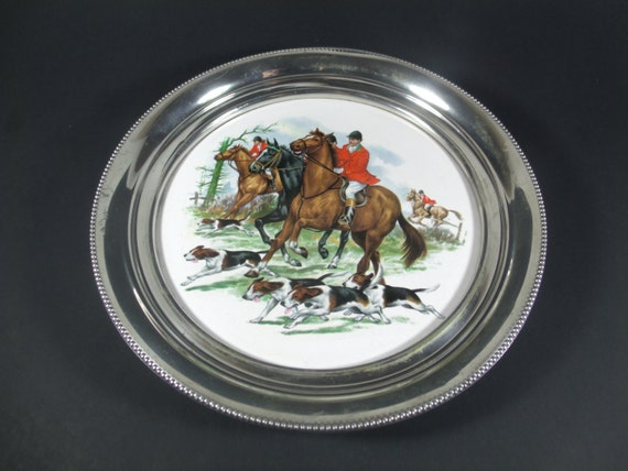 porcelain fox revere tray pewter hunt