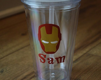 Personalized Iron Man Acrylic Tumbler- Superhero cup with staw