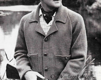 Knitted Men's Jacket ... Vintage PDF Knitting Pattern ... Warm, Sporty Men's Jacket ... Autumn, Fall, Spring ... Instant Download